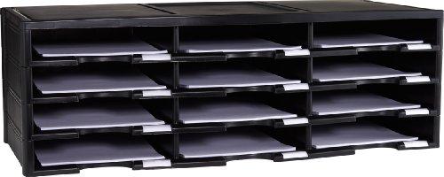 Storex 12-Compartment Literature Organizer/Document Sorter, Black ()