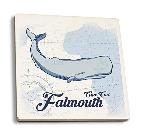 Lantern Press Falmouth, Cape Cod, Massachusetts - Whale - Blue - Coastal Icon (Version 2) (Set of 4 Ceramic Coasters - Cork-Backed, - Whales Cod Cape