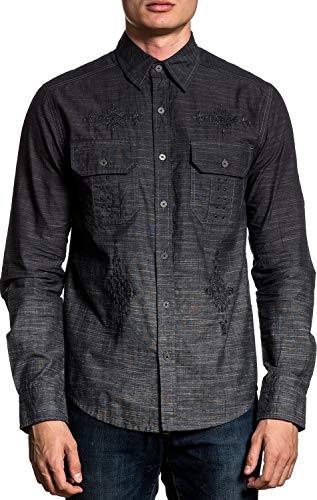 Affliction Distinct Long Sleeve Woven Button Down Casual Shirt For Men