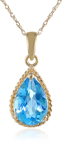 14K Yellow Gold  Swiss Blue Topaz Drop Pendant Necklace, 18""