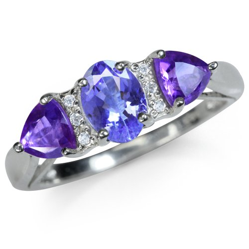 Genuine Tanzanite, African Amethyst & White Topaz 925 Sterling Silver Classic Ring Size (Genuine African Amethyst Ring)
