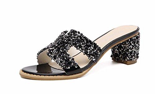 Tacon Agua Verano Mujeres Playa Zapatillas La Moda Alto Al Rough Cool Calzado Cm Libre HGDLH Desgaste Aire Zapatos black De Confort 6 De de Mujer Taladro 0wxqOz6
