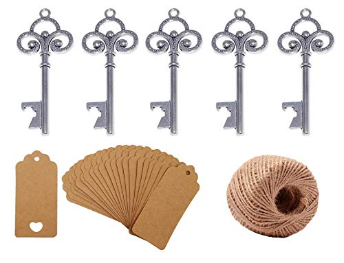 Yansanido Pack of 50 Skeleton Key Bottle Opener for Wedding Favors with Escort Tag Card and Twine for Guests Party Favors Gift & Decorations (A Silver)