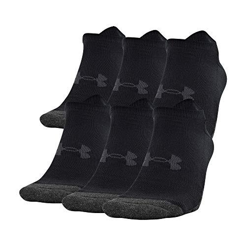 Under Armour Adult Performance Tech No Show Socks (6 Pairs), Shoe Size: Mens 9-12.5/Womens 11-13, Black