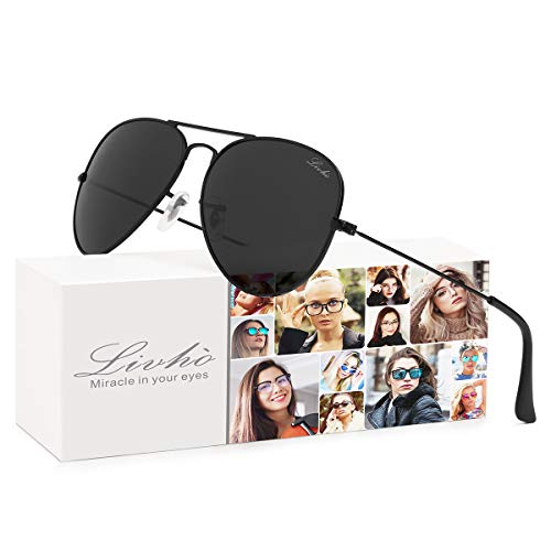 LIVHO Classic Aviator Sunglasses for Women Men Polarized,Metal Frame Mirror UV Lens Protection(Black Grey, 58)