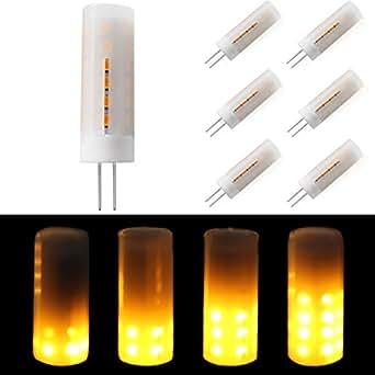 6 x MASONANIC LED Flame Bulb, G4 Base 2W 8-30V 1300K True Fire Color, led bulb,Decorative Lamp for Christmas, Halloween, Festival, Party (6 Pack)