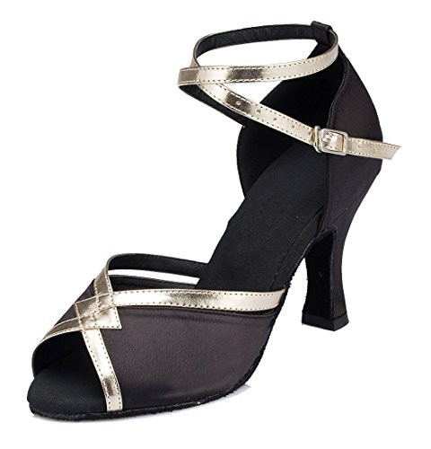Moderne Satin Latine 5cm Cheville Noir De Peep joymod 7 Danse Starp Talon Mariage Chaussures Synthtique Soire Mgm Toe Tango Femmes Ballroom Tw74AAx
