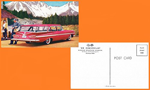 1959 CHEVROLET NOMAD STATION WAGON in ROMAN RED FACTORY ORIGINAL COLOR POSTCARD - USA - GREAT VINTAGE POST CARD !!