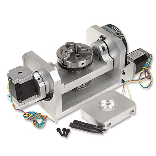 CNC Router Machine Rotary Table 4th & 5th Rotational Axis with Chuck & 57 2-Phase 250 oz-in Stepper Motor (4th & 5th Axis) (4th And 5th Axis Cnc Rotary Table)