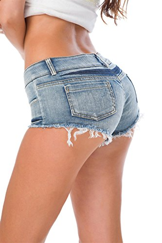 Cresay Women's Sexy Cut Off Denim Jeans Shorts Mini Hot Pants (Skirt Sexy Stripper)