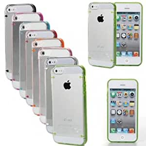 Ultra-Thin Clear Glossy Hard Case Candy Frame Shell For iPhone 5 & Color = White