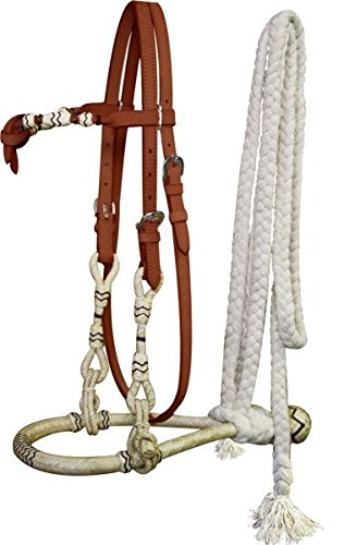 - Showman Medium Leather Futurity Knot Rawhide Wrapped Show Bosal with Cotton Mecate Reins