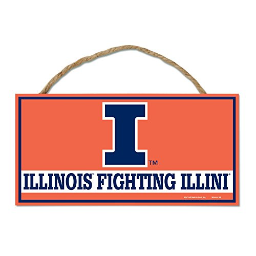 NCAA University of Illinois WCR66372014 Wood Sign with Rope, 5