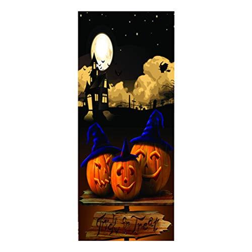 VORCOOL Halloween Door Sticker Pumpkin Self Adhesive PVC Waterproof Removable Door Wall Mural Wallpaper for Halloween Decoration Party Supplies