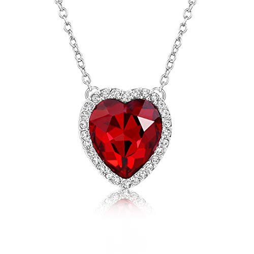 (Beyond Love Red Garnet January Birthstone Necklace Heart Jewelry Gifts for Women and Girls)