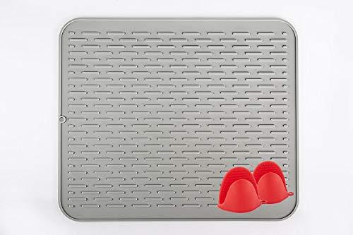 Ledsolver Extra Large Size Silicone Dish Drying Mat, with Bonus 2pcs Silicone Oven Gloves,Heat Insulation ... (18x16, Grey)