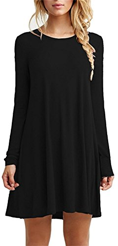 Women's Casual Plain Long Sleeve Simple Tee Tshirt Dress Black (Teen Christmas Dress)