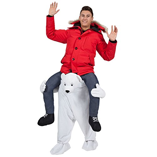 Polar Bear Mascot (GUAITAI Piggy Back Polar White Bear Ride On Me Mascot Adults Party Fancy Dress Carry Costume)