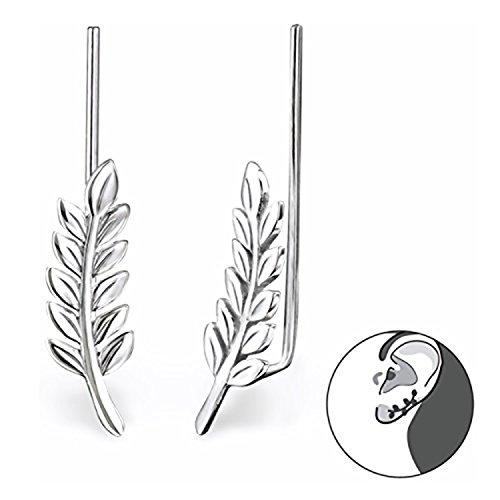 Best Wing Jewelry .925 Sterling Silver Leaf Ear Pin/Ear Climber/Ear Crawler Earrings (028625) by Best Wing Jewelry (Image #1)