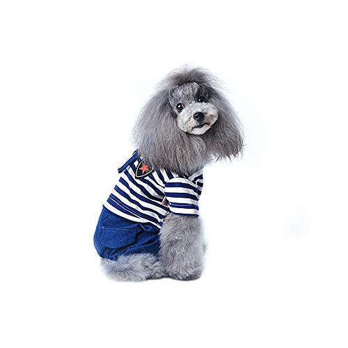 Molyveva Navy Collar Striped Pet Dog Suit Breathable Suit Costumes Clothes -