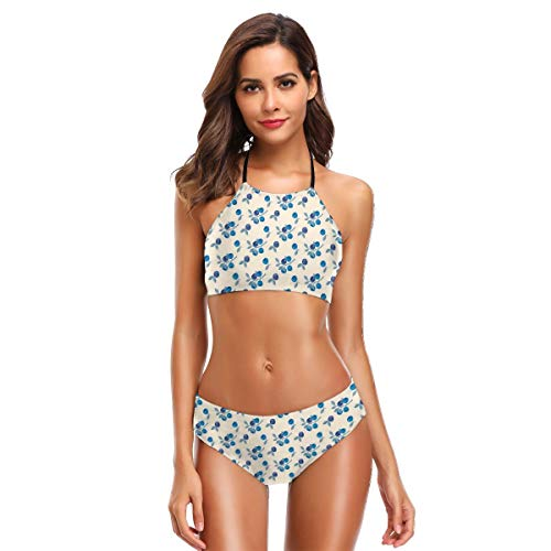 K0k2to Women's Two Piece Bikini Swimsuits,Mountain Blueberries Fruit Branches Organic Cottage Garden Concept M