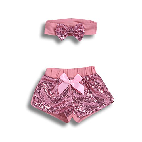 (2PCS Toddler Baby Girl Clothes Sets Party Sequin Shorts + Bowknot Headband Summer Outfits (Pink, 6-12 Months))