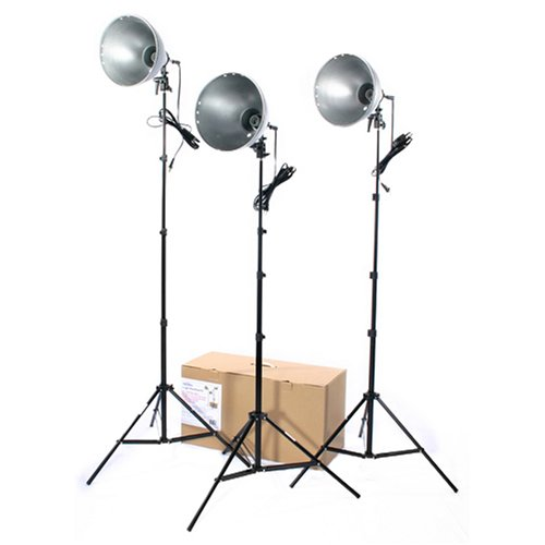 RPS Studio 3 Light Photoflood, Reflector & Stands Studio Kit (RS-4003) (Lighting Kit Photoflood Studio)