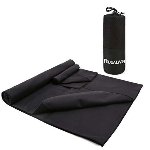 FSDUALWIN 2 Pack Microfiber Towel Set, XL Quick Drying /Absorbent/Antibacterial Swimming Towel Set (60