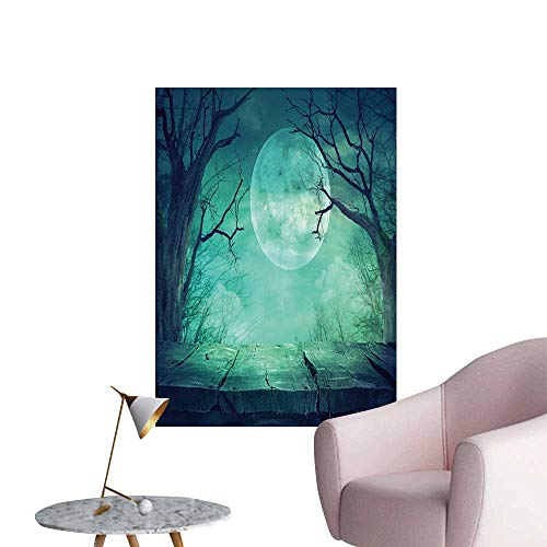 SeptSonne Modern Painting Halloween backgroun Spooky Forest Full Moon Wooden Table Home Decoration,28