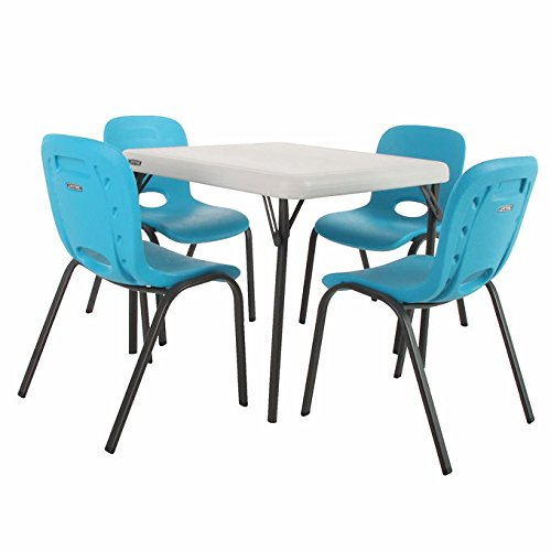 Lifetime Kids Powder-Coated Table with 4 Strong and Durable Blue Chairs with Easy-Carry Handle and Steel Frame by Lifetime Kids