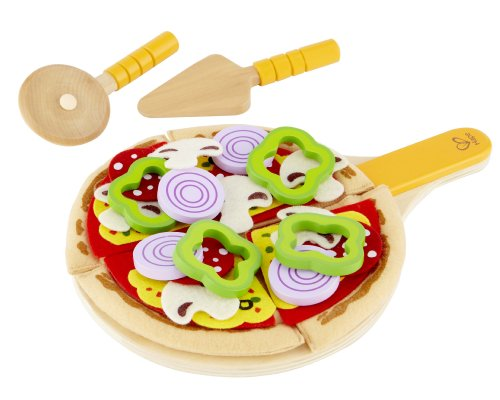 (Hape Homemade Wooden Pizza Play Kitchen Food Set and)
