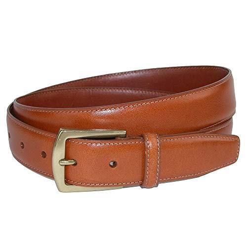 (CrookhornDavis Dress Belt for Men, Calfskin Leather Accessories - (Ciga Smooth), 34, Tan)