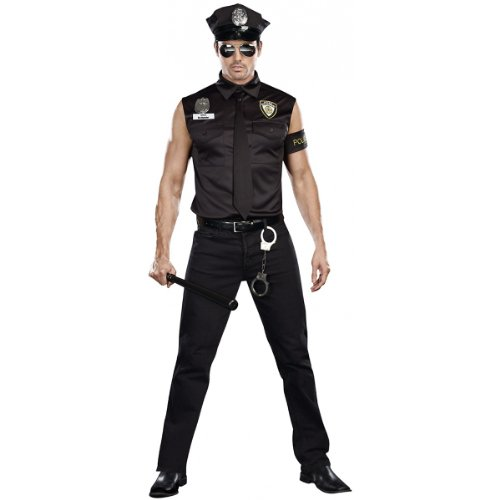 Dreamgirl Men's Dirt Cop Officer Ed Banger Costume, Black, Large (Male Costume Halloween)