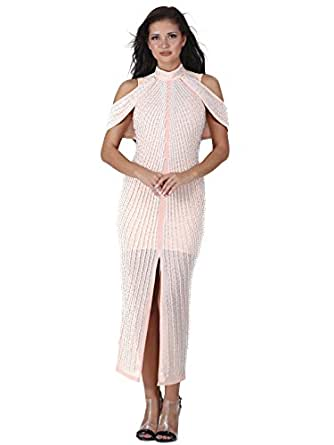 Tina Beauty Turtleneck Off Shoulder Short Sleeve Cut Out Pearl Beading Crystal Maxi Dress Pink Medium