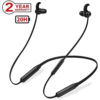 Avantree NB16 20Hrs Bluetooth Neckband Headphones Earbuds with Mic, Light & Comfortable Around The Neck Magnetic Wireless in Ear Compatible with TV PC iPhone Samsung Phones, Workout Gym, Music & Call
