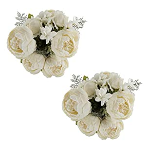 EZFLOWERY 2 Pack Artificial Peony Silk Flowers Arrangement Bouquet for Wedding Centerpiece Room Party Home Decoration, Elegant Vintage, Perfect for Spring, Summer and Occasions (2, Pure White) 19