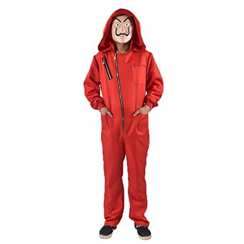 Unisex Dali Red Costume for La Casa De Papel Jumpsuits with Mask (XL)