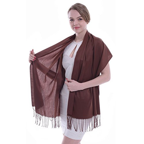 Dark Brown Wrap - Pashmina Scarf for Women, Vimate Cashmere Feel Plain Colors Pashmina Shawls and Wraps (Dark Brown)