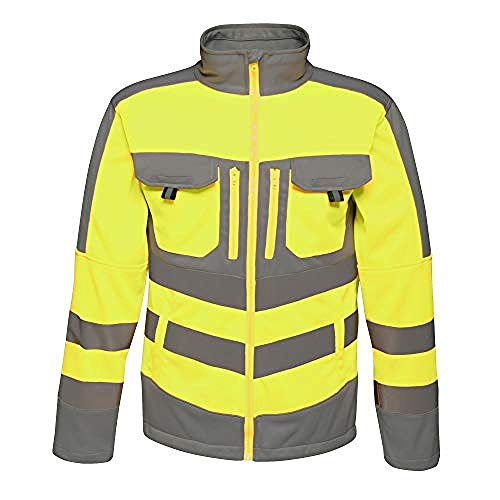 Regatta Mens Hi Vis Tactical Reflective Stretch Fleece (L) (Yellow/Gray) ()