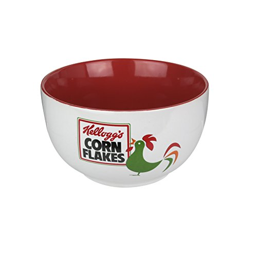 (Kellogg's KG30553 Cereal Bowl, Ceramic, White, Red, 14 x 14 x 8 cm )