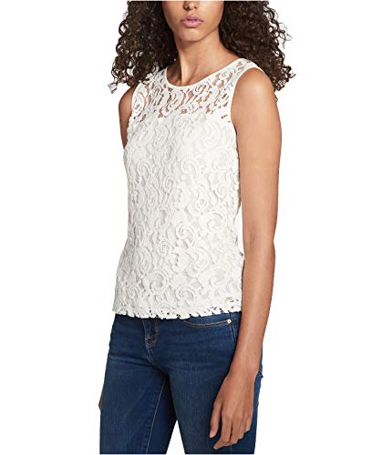 Tommy Hilfiger Women's Sleeveless Crochet-Lace Top (Ivory, ()