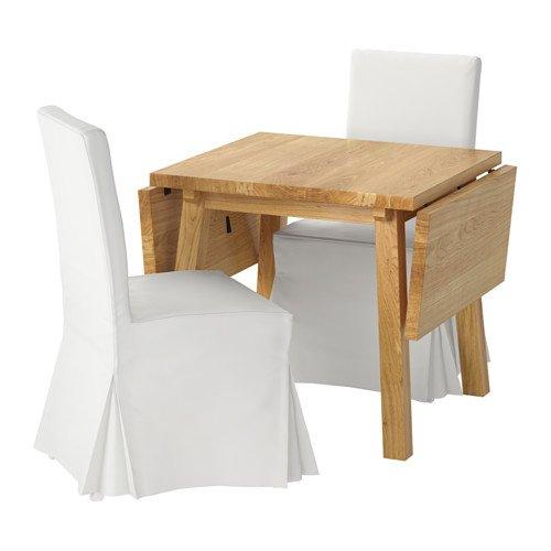 Ikea Table and 2 chairs, oak white, Blekinge white 20204.2055.3434