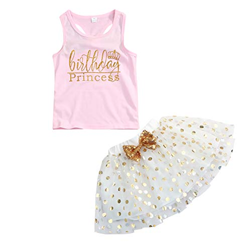 Toddler Kids Baby Girls Outfits Birthday Princess Top Sleeveless T-Shirt +Dot Bubble Skirt Summer Clothes Set (Pink, 3-4 Years) ()
