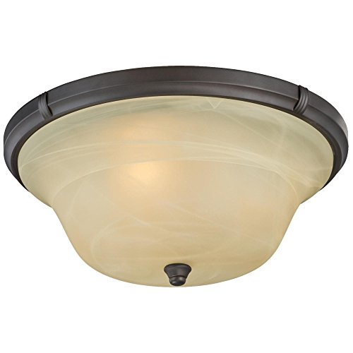 Westinghouse Lighting 6342600 Tolbut Three-Light Indoor Flush Ceiling Fixture, Oil Rubbed Bronze Finish with Amber Alabaster Glass