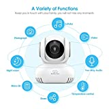 WiFi Baby Monitor with Camera and Audio - Lullaby Player, Home Security WiFi Camera for Nanny/Elder/Pet with 2-Way Audio, Night Vision, Motion & Temperature Sensors, Pan/Title iOS or Android Device