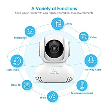 WiFi Baby Monitor with Camera and Audio – Lullabies, Home Security 2.4G WiFi Camera for Nanny Elder Pet with 2-Way Audio, Night Vision, Motion Temperature Sensors, Pan Title Zoom, iOS Android