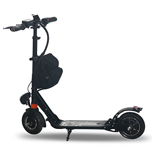 AGDA®350W Black Adult City Push Kick Scooter With Large Wheel,Dual Front and Rear Spring Comfort Suspension.Easy to Carry Light Weight Aluminium Kickboard.