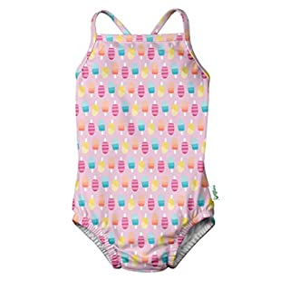 i play. by green sprouts Girls' One-Piece Swimsuit with Built in Reusable Swim Diaper, Light Pink Popsicles, 6 Months