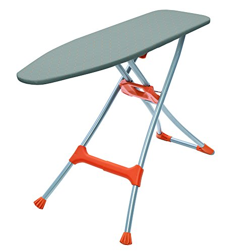 Homz Durabilt Premium Ironing Board with Steel Mesh Top, - Orange Silver