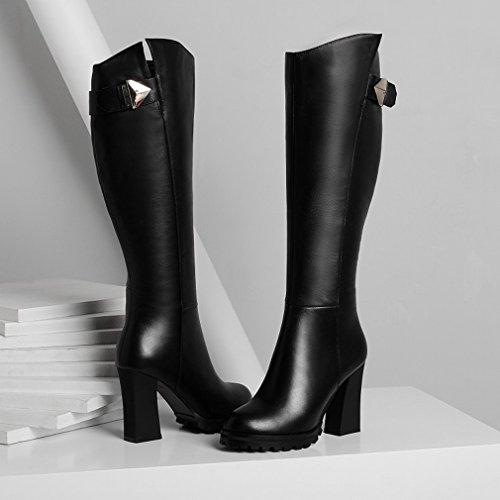 XAI Las Mujeres Occidentales Botas de Plataforma Impermeable Áspera Alta con Los Zapatos de Invierno Martin Botas Altas Negro